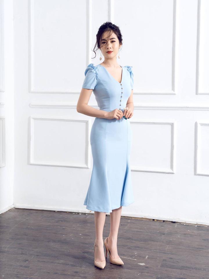 Đầm Cổ Tim Đuôi Cá Kết Ngọc Trai - xanh ngọc
