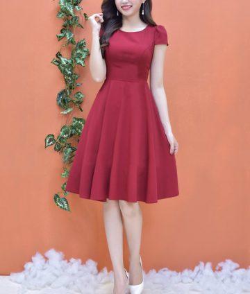 Đầm Xòe Tay Con Dễ Thương – Đỏ