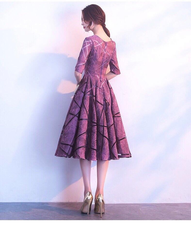 Đầm Xòe Voan Gấm Thêu Cao Cấp Hồng