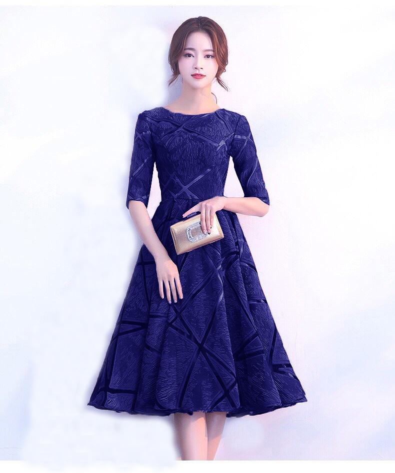 Đầm Xòe Voan Gấm Thêu Cao Cấp Xanh