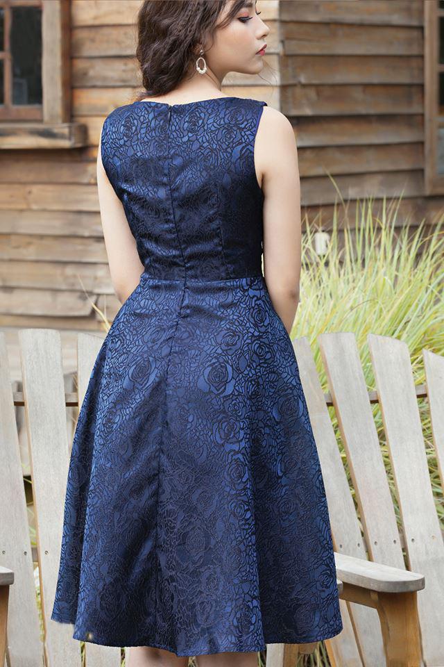 Đầm Xòe Gấm Lụa Kết Bông Có Túi