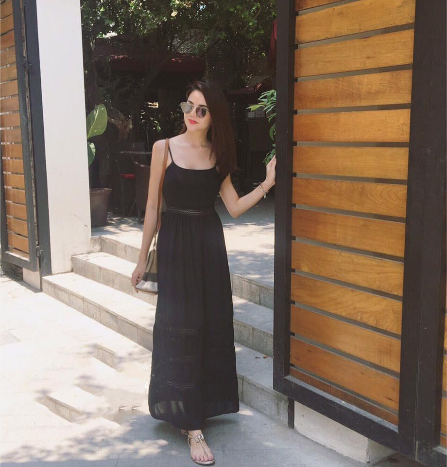 Đầm Maxi Hai Dây Phối Ren Đen