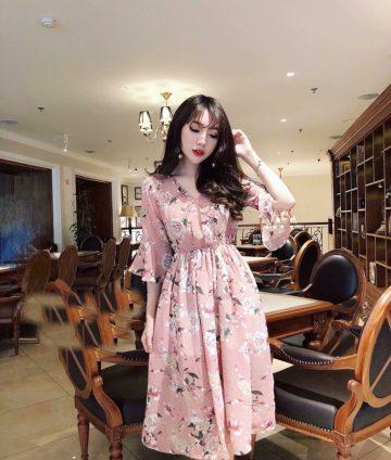 Đầm Xòe Hoa Eo Thun Tay Lỡ