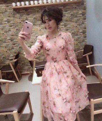 Đầm Xòe Tiểu Thư Tơ Hoa 3D