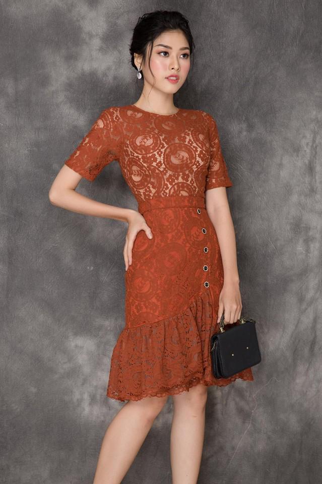 Đầm Ren Cao Cấp Đuôi Cá - Cam