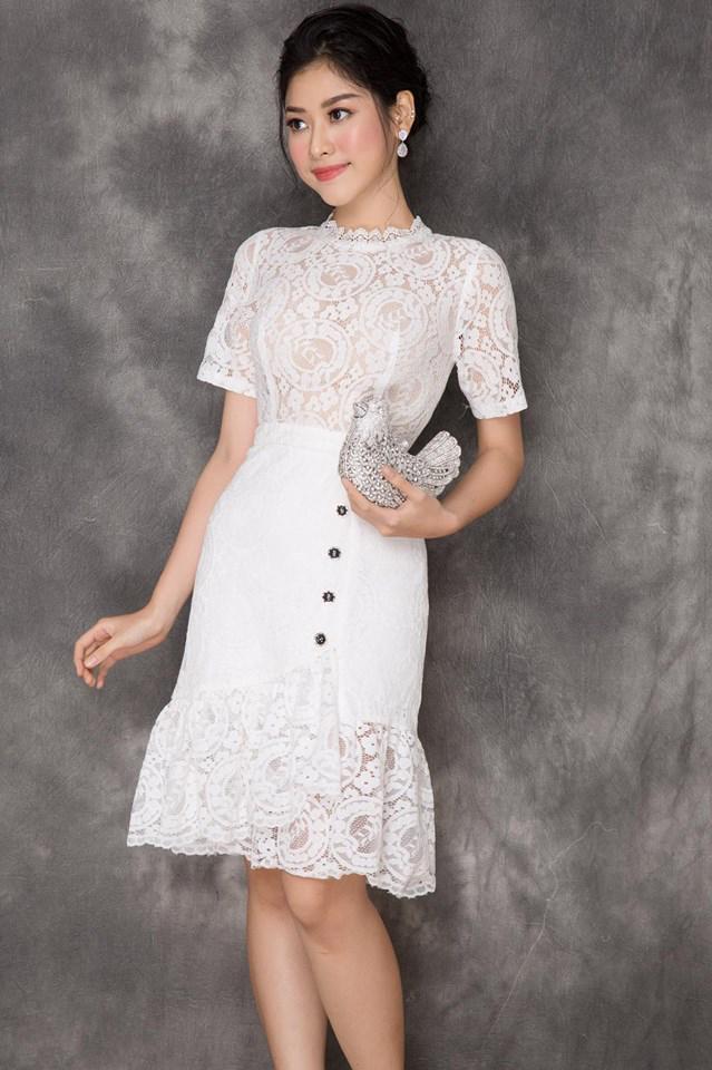 Đầm Ren Cao Cấp Đuôi Cá - Trắng
