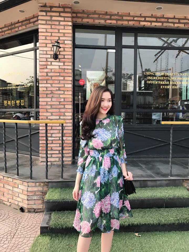 Đầm Voan Tơ Hoa Cẩm Tú Cầu Nhún Eo