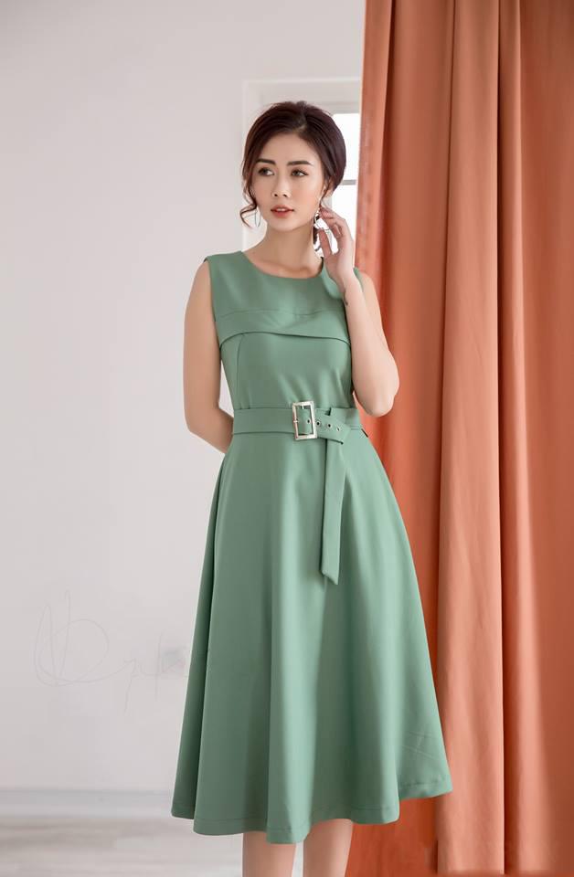 Đầm Xòe Cách Điệu Có Túi Kèm Belt - Xanh