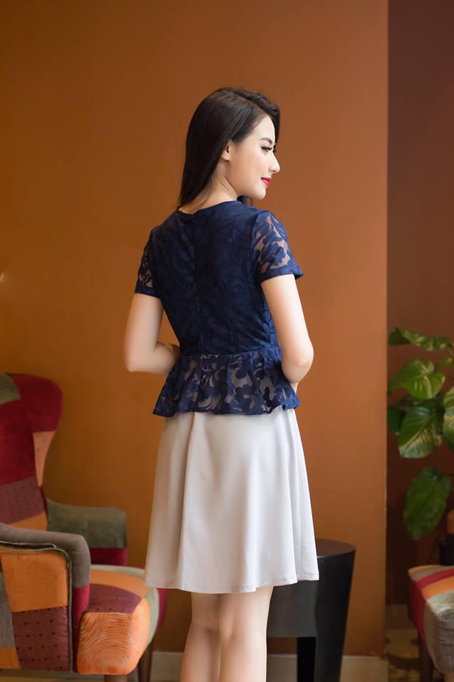 Đầm Xòe Thiết Kế Ren Peplum