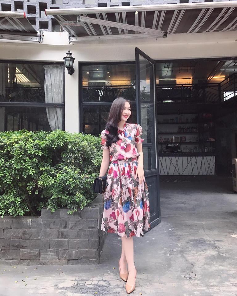 Set Áo Sơ Mi - Váy Xòe Hoa - Hồng