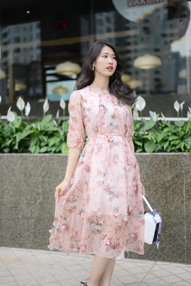Đầm Voan Tơ Vintage Hoa 3D