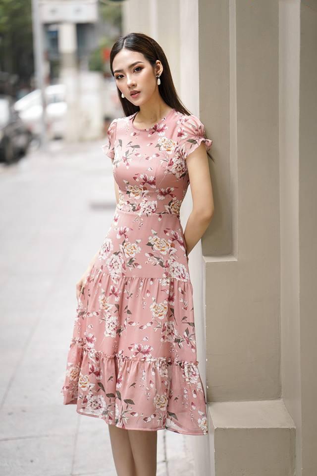 Đầm Xòe Họa Tiết Hoa Tay Nhún