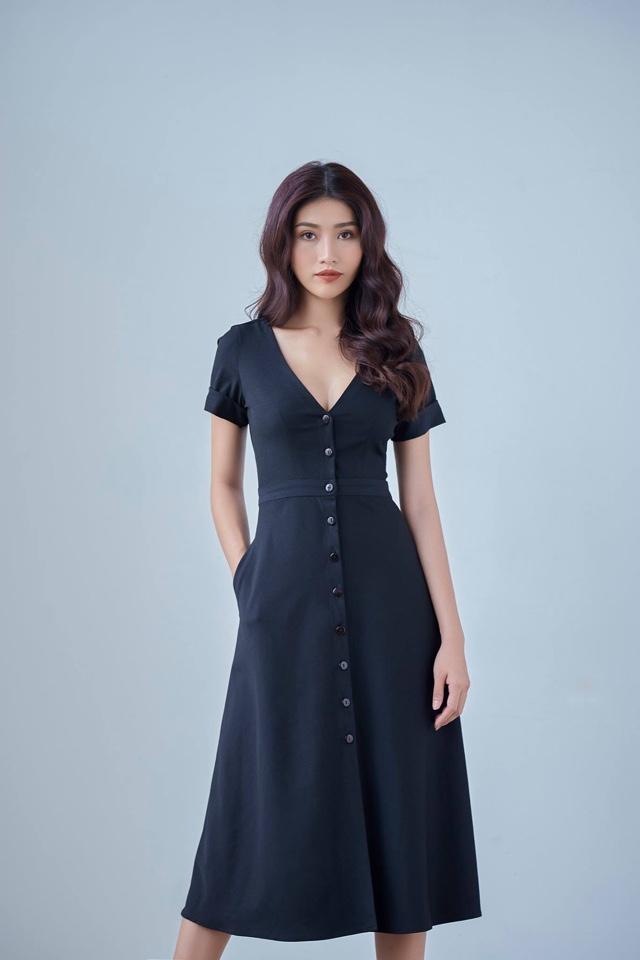 Đầm Xòe Vintage Cổ Tim Đính Nút