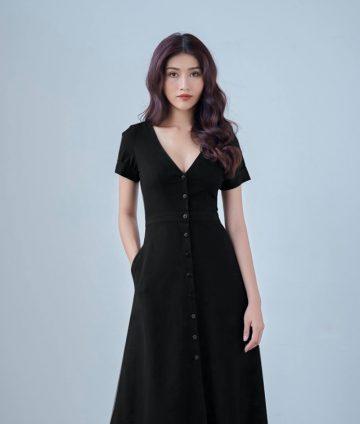 Đầm Xòe Vintage Cổ Tim Đính Nút – Đen