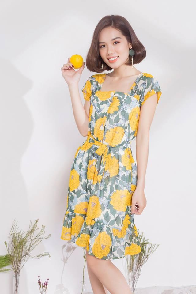 Đầm Hoa Suông Cài Nút Kèm Dây