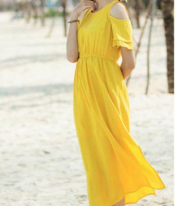 Đầm Maxi Khoét Vai Eo Thun