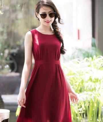 Đầm Xòe Sát Nách Nữ Tính – Đỏ