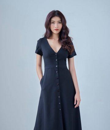 Đầm Xòe Vintage Cổ Tim Đính Nút – Xanh