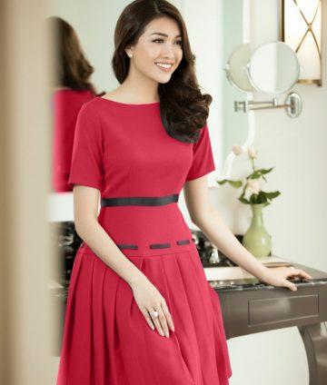 Đầm Xòe Xếp Ly Phối Ruy Băng Cao Cấp – Đỏ