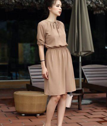 Váy Chun Eo Tay Lỡ Cột Nơ – Be