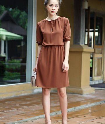 Váy Chun Eo Tay Lỡ Cột Nơ – Cam đất