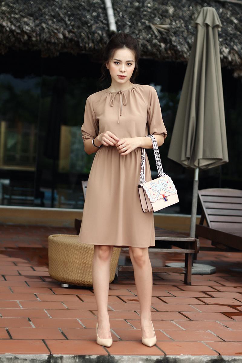 Váy Chun Eo Tay Lỡ Cột Nơ