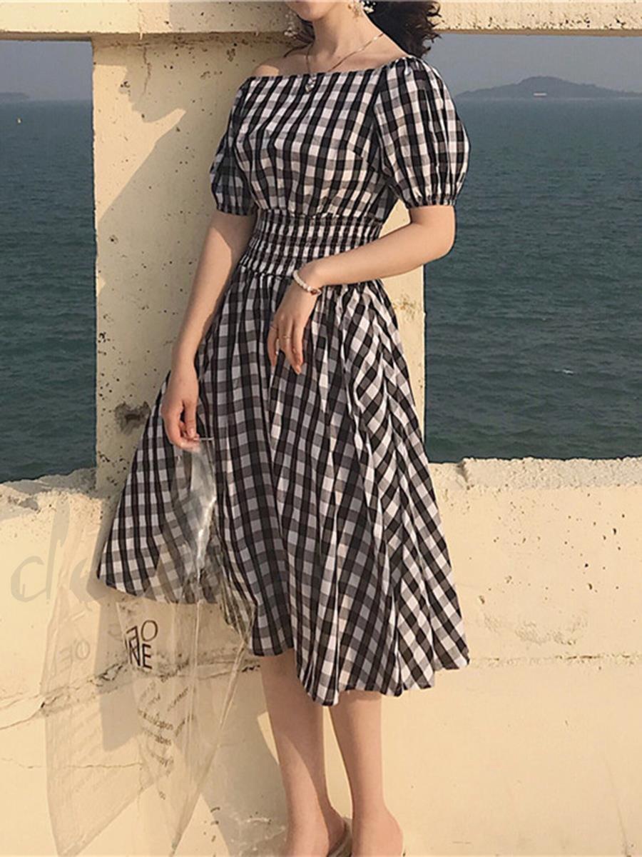 Đầm Caro Vintage Trễ Vai Eo Thun Có Túi