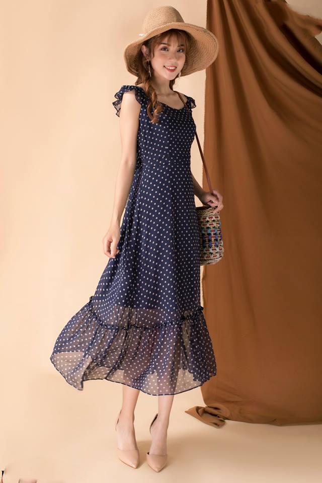 Đầm Maxi Chấm Bi Đuôi Cá