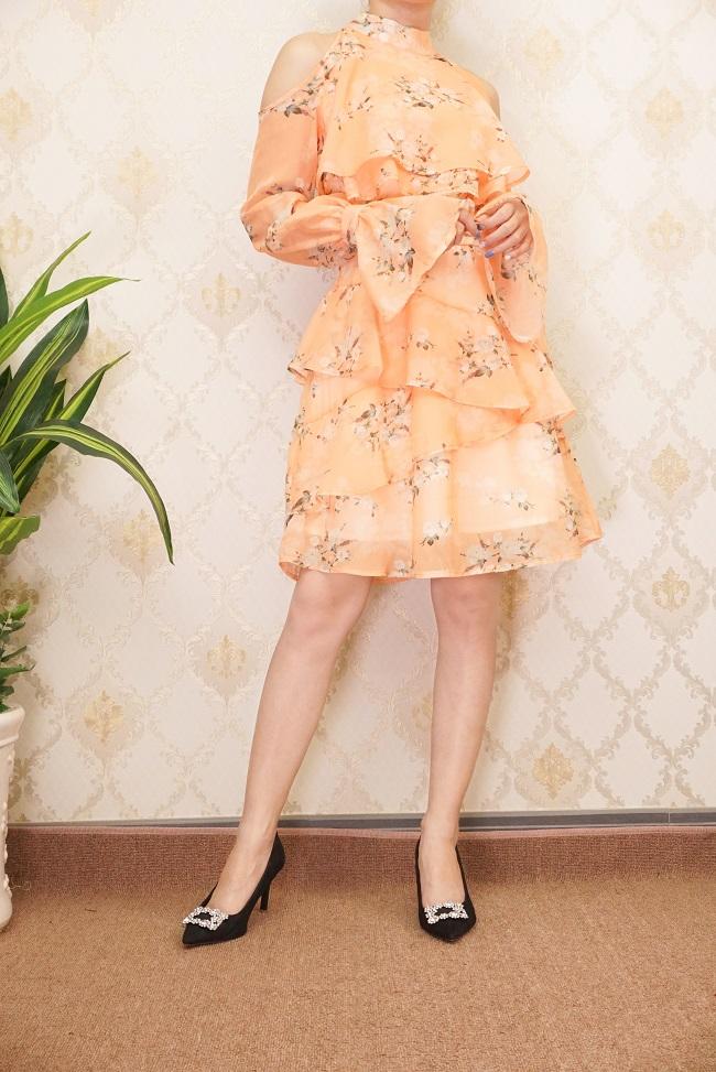 Đầm Hoa Cổ Trụ Tay Dài Thư Ký Kim Cam