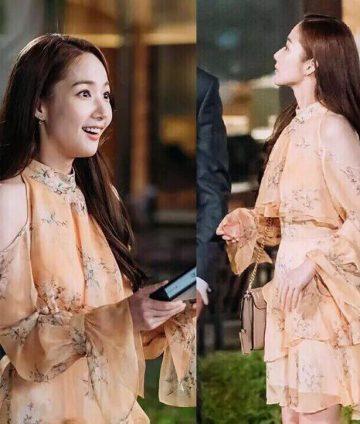 Đầm Hoa Cổ Trụ Tay Dài Thư Ký Kim