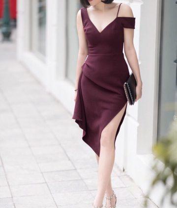 Đầm Dự Tiệc Thiết Kế Xẻ Tà Đính Ngọc – Đỏ