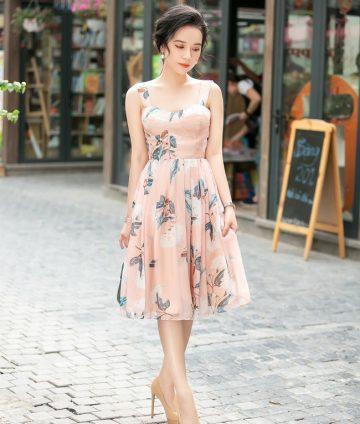 Đầm Họa Tiết Xếp Ly 2 Dây