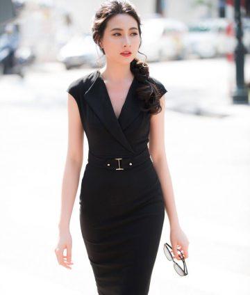 Đầm Body Cổ Giả Vest Kèm Belt