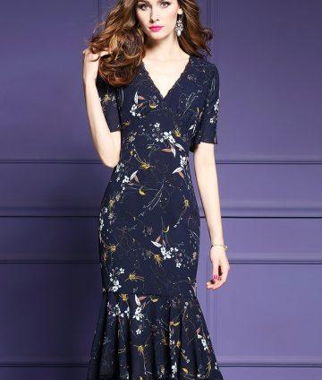 Đầm Hoa Body Đuôi Cá Viền Ren
