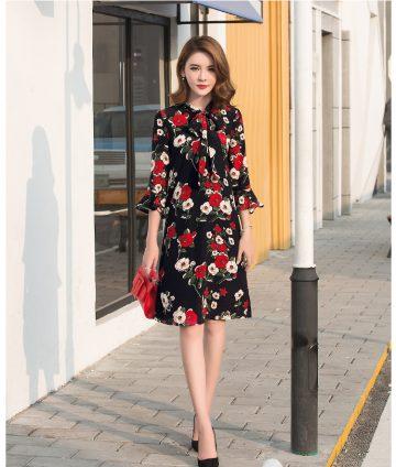 Đầm Hoa Suông Tay Lỡ Cột Nơ Cổ