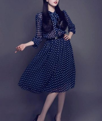 Đầm Xòe Vintage Chấm Bi Ngọc Trinh