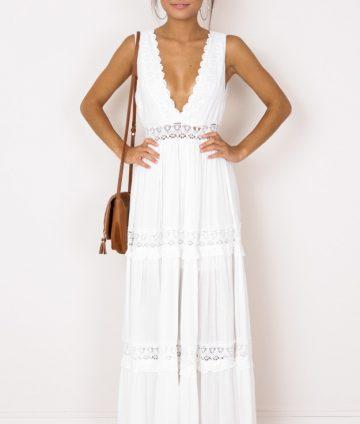 Đầm Maxi Cổ V Phối Ren