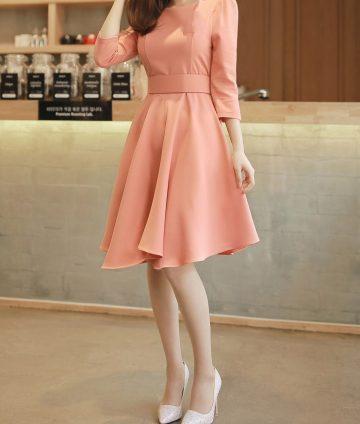 Đầm Xòe Tay Lỡ Hồng Cam