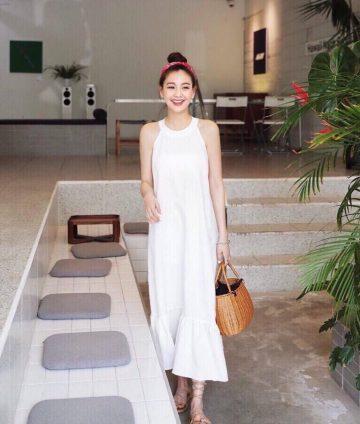 Đầm Maxi Cổ Yếm Nhún Bèo Lai