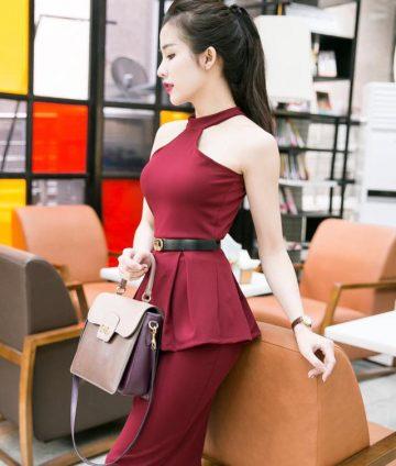 Set Áo Yếm Peplum Chân Váy Bút Chì – Đỏ