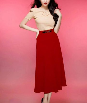 Chân Váy Xòe Công Sở Ngọc Trinh Kèm Tag – Đỏ
