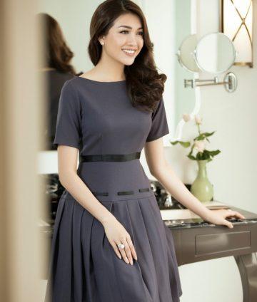 Đầm Xòe Xếp Ly Phối Ruy Băng Cao Cấp – Tím cẩm