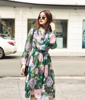 Đầm Voan Tơ Hoa Cẩm Tú Cầu Cổ V Kèm Dây
