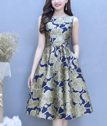 Đầm Xòe Gấm Cao Cấp Có Túi Kèm Dây