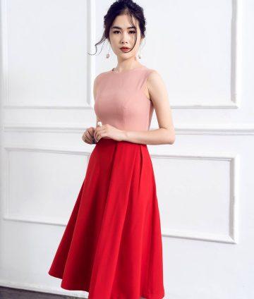 Đầm Xòe Hồng Phối Tùng Đỏ Có Túi
