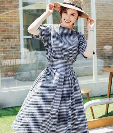 Đầm Xòe Vintage Caro Nhí Dễ Thương