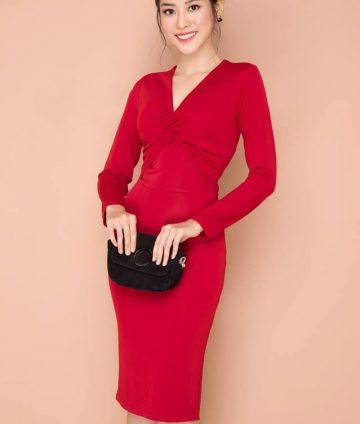 Đầm Công Sở Tay Dài Xoắn Ngực