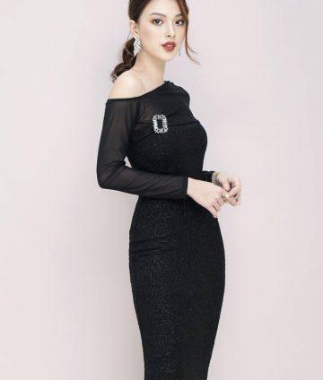 Đầm Boby Thun Ánh Kim Tay Lưới Kèm Logo