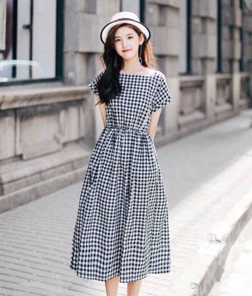 Đầm Caro Eo Bo Thun