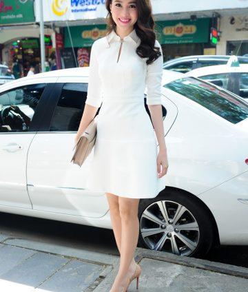 Đầm Cổ Sơ Mi Phong Cách Tiểu Thư Giống Thu Thảo